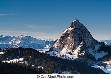 Grosser Mythen mountain peak in winter, Schwyz, Switzerland