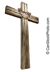 Wooden Crucifix With Crown Of Thorns - A wooden cross that...
