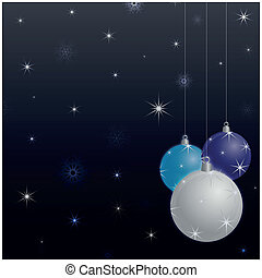 Christmas background with balls decorated with stars