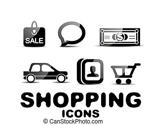Black glossy shopping icon set