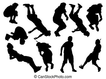 Parkour - Vector illustration of a young man in a jump