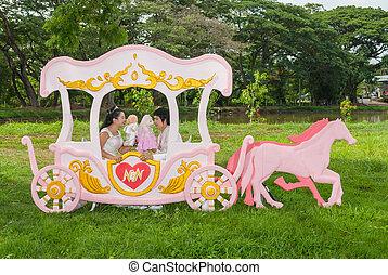carruaje, nupcial, amor, asiático, tailandés