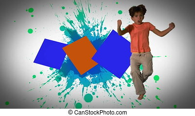 Montage of children jumping and playing in slow motion on...