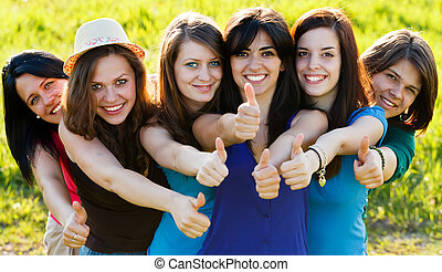 Likes From Successful Girls - Team members showing thumbs up...