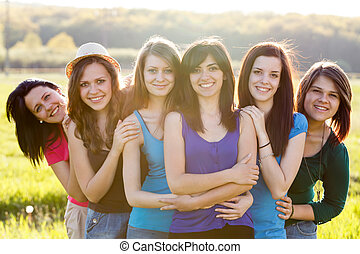 Girlfriends Forever - Group of attractive women in a group...