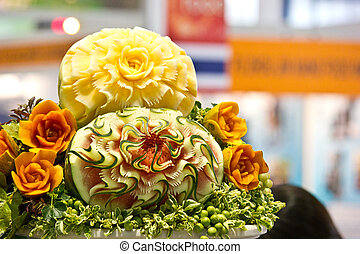 vegetabale carving - vegetable carving in the Thailand...