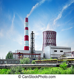 Station and smoke stack - Thermal station and smoke stack in...