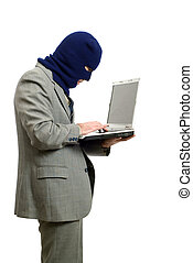 Computer Thief - A computer thief wearing a business suit is...