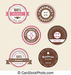 emblemas, para, feito à mão, produtos