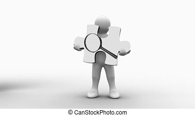 White figure holding a jigsaw piece with a magnifying glass...