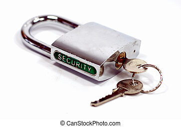Padlock security with keys - Shiny padlock with the key and...