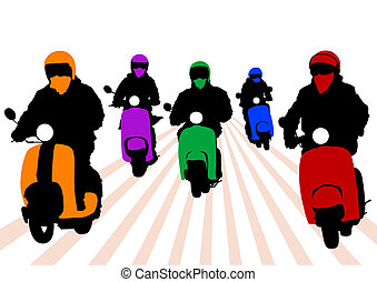 People on scooter - Vector image of young people on a...