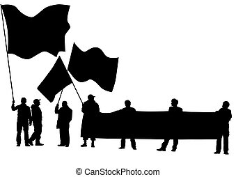 People with flags
