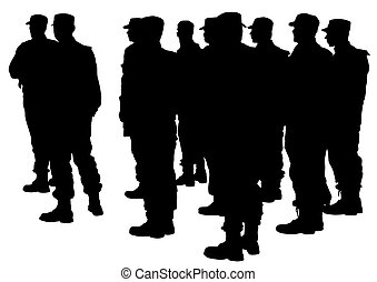 Police men - Vector drawing of special police force