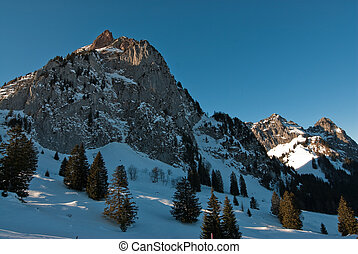 mythen mountain peaks in winter, switzerland