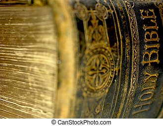 Old ancient bible - Close up shot of the spine of hardback...