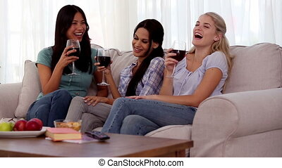 Group of friends having fun while drinking red wine on the...