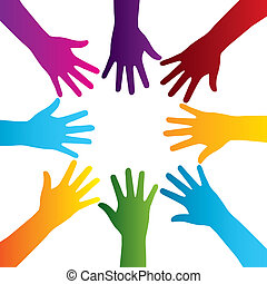 hands silhouette colorful - hands silhouette over white...