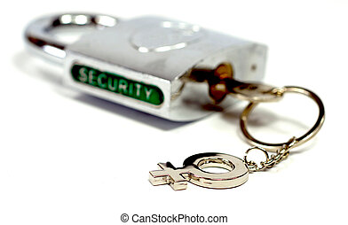 Padlock security - Shiny padlock with the key and the...