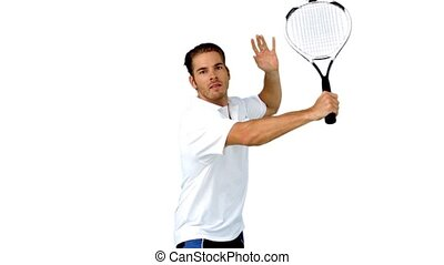Handsome man playing tennis - Man playing tennis in slow...