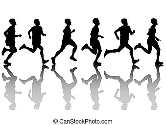 Run men - Vector drawing athletes on running race