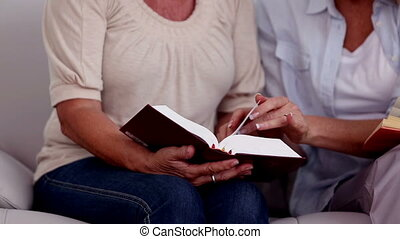 Mature friends looking at the bible while they are resting...