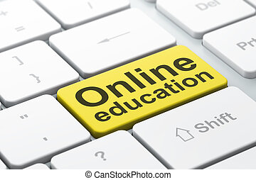 Education concept: computer keyboard with word Online Education, selected focus on enter button background, 3d render