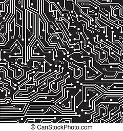 circuit board over black background vector illustration