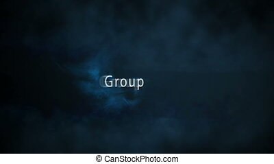 Montage of team building terms appearing with blue sparks on...
