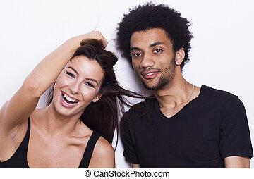 Happy interracial couple