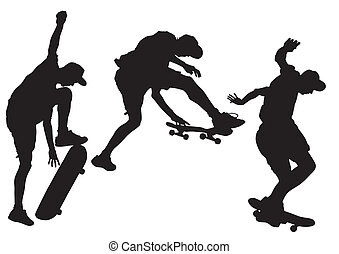Skateboard - Vector drawing athletes on a skateboard