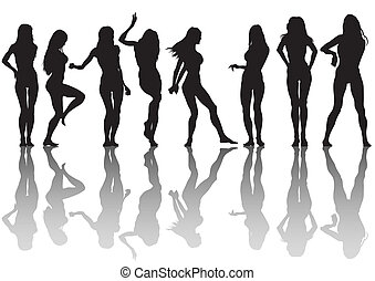 Slender girls - Vector image of young slender girls