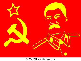 Stalin - Vector drawing of a hammer and sickle with a...