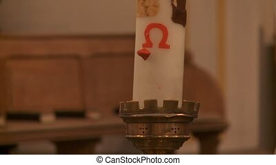 Easter Candle - video footage of a easter candle in a church