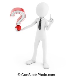 3d man with red question mark isolated white background