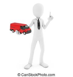 3d man with generic toy van