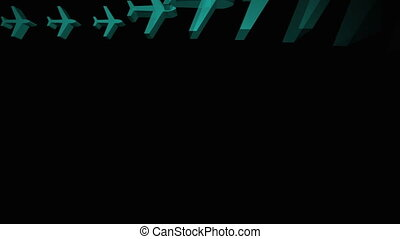 Blue airplanes appearing in a grid on black background