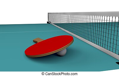 Table tennis - A 3D illustration of equipments of table...
