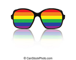 Glasses frame and gay pride flag inside with reflection. -...