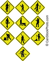 Men at work sign in different Positions.