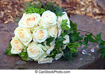 Bridal bouquet of fresh roses - Bridal bouquet of fresh...