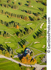 Aerial image of a golf course.