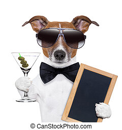 martini dog - party dog toasting with a martini glass with...