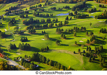 Aerial image of a golf course. - Aerial view of golf course,...