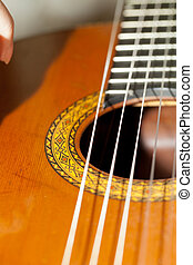 close up of acoustic guitar