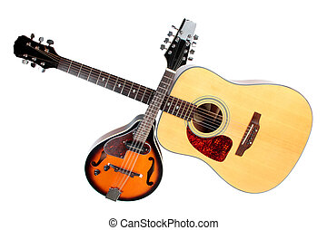 Acoustic mandolin and guitar - Color photo of a mandolin and...
