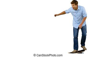 Man skating on white screen