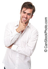 Happy young man isolated on white