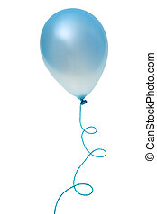 Blue balloon - Blue balloon with string isolated on white...
