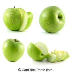 Green apple collection isolated on white background set